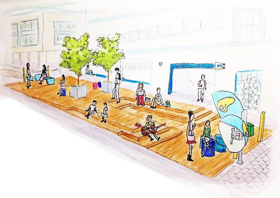 Projeto de deck urbano sugerido para a rua Saldanha Marinho, no centro de Florianópolis